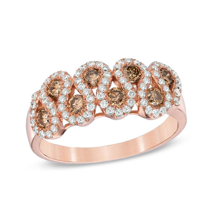 Zales Champagne Diamond Accent Open Serpent Ring in 10K Rose Gold MXsZLQ7x