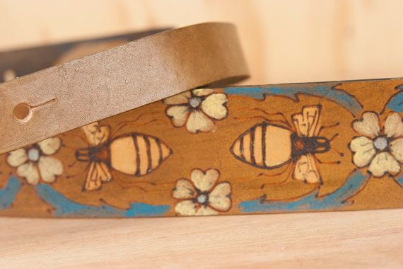 Leather Ukulele Strap - Melissa pttern with flowers and bees - Gold turquoise and antique brown - Kids guitar strap - Handmade leather