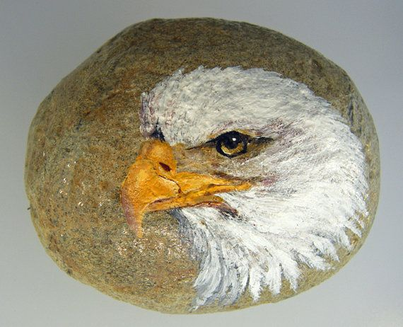 Hand Painted Rocks! No two are alike, each one is hand painted by wildlife artist, Mary Jane Harman.  Gathered from the Kitsap Peninsula in Washington, this rock measures approx 3.5 inches across and 2 inches high.  After cleaning three coats of clear coat are applied and then acrylic paint is used to transform an ordinary rock into a collectible piece of Fine Art. Two more coats of clear coat are then applied and a piece of felt is glued to the bottom so they may be used safely on desk…