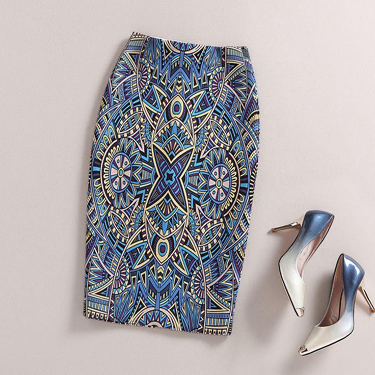 Ladies Elegant Baroque Style Geometric Pattern Print High Waist Tight Pencil Skirt Wear To Work  Office Lady Wear Bottom