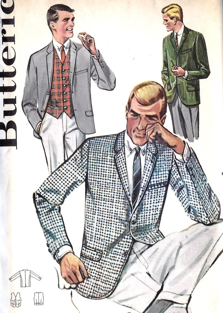 1950s Mens Jacket And Vest Vintage Sewing Pattern Butterick 2125 Chest 40 Uncut