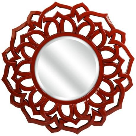 "Calantha Red 33"" Round Wall Mirror - #5W684 