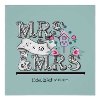Mrs and Mrs Personalized Lesbian Wedding Gift Poster | Lesbian and ...