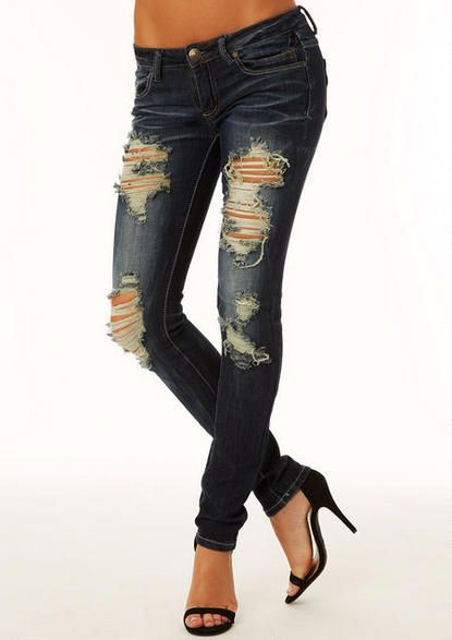 Machine Jeans Dark Destructed Skinny Jean - View All Jeans - Jeans - Alloy Apparel