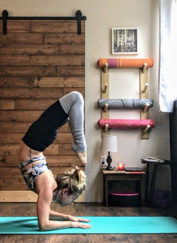 Basic Yoga Mat Rack Handcrafted Yoga Decor Workout Etsy In 2020 Home Yoga Room Yoga Decor Yoga Room Design