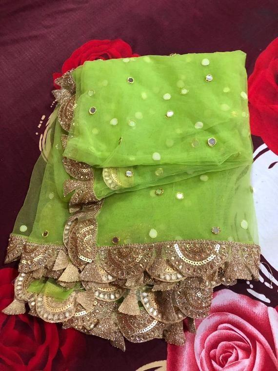 white Bridal Indian Wedding Dupatta long net embroidered scarf Punjabi dress dupattas  embroidery for festival chunni lehenga stole