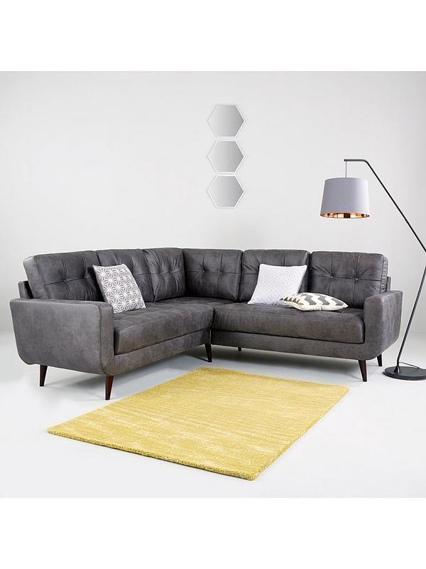 Skandi Faux Leather Corner Group Sofa Leather Corner Sofa Sofa New Furniture