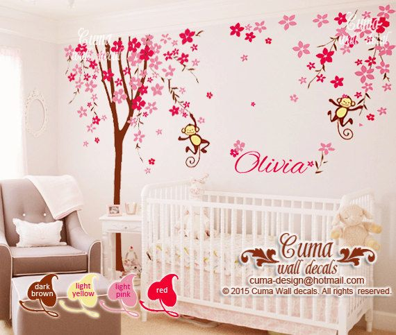 nursery wall decal cherry blossom tree with monkey baby name decal office wall decals nursery wall decal z209 by cuma