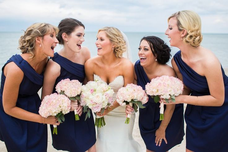 Blush pink hydrangea bouquets, love this shot with everyone