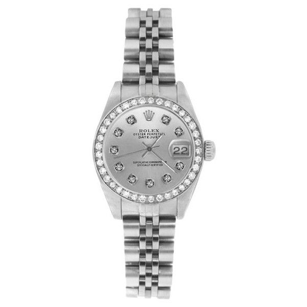 Pre-owned Rolex Datejust 69174 Stainless Steel Silver Diamond Dial &... ($4,095) ❤ liked on Polyvore featuring jewelry, watches, dial watches, silver watches, silver jewellery, rolex wrist watch and stainless steel watches