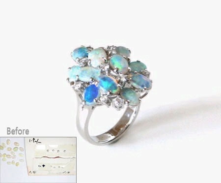 Opal ring remade, 14K white gold ; 리폼비용 약 $550