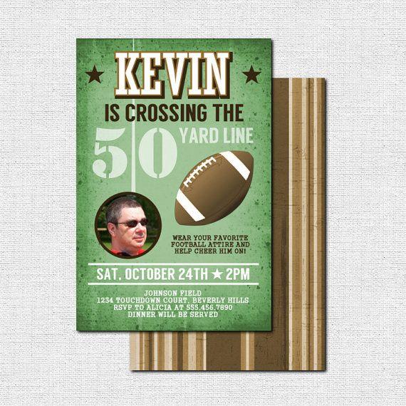 FOOTBALL BIRTHDAY INVITATIONS - 50 Yard Line Milestone ...