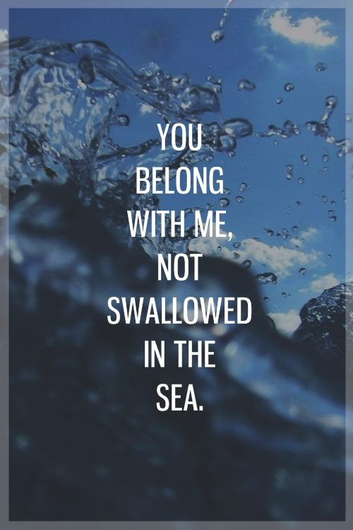 I could write a song,   a hundred miles long,  yeah that's where I belong,   and you belong with me  not swallowed in the sea