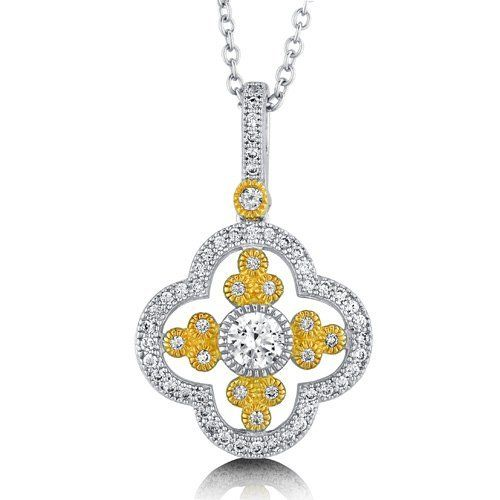 CZ 925 Sterling Silver 2-Tone Filigree Flower Pendant Necklace - Nickel Free BERRICLE. $73.99. Stone Type : Cubic Zirconia. Nickel Free and Hypoallergenic. Stone Total Weight (ct.tw) : 0.56. Gender : Women. Metal : Stamped 925. Save 60% Off!