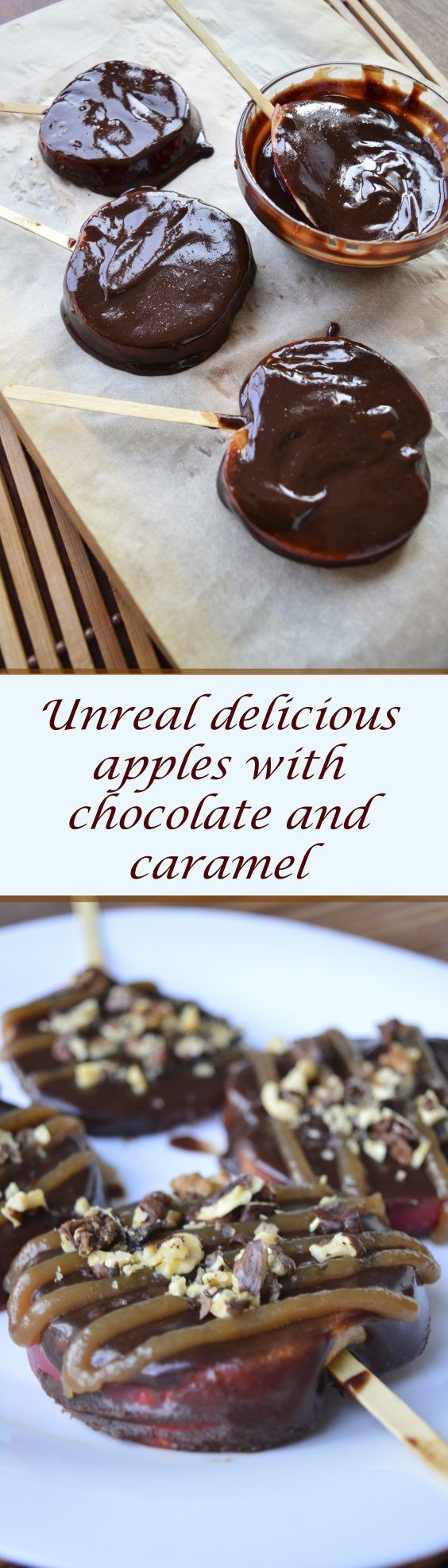 Unreal delicious apples with chocolate and caramel