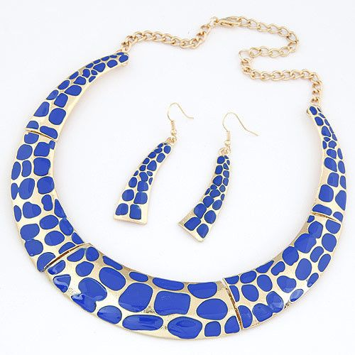 Blue or Black Leopard Print Jewellery Set #alloy #black #blue #dress #evening #every-day #fashion #gold #metal #other