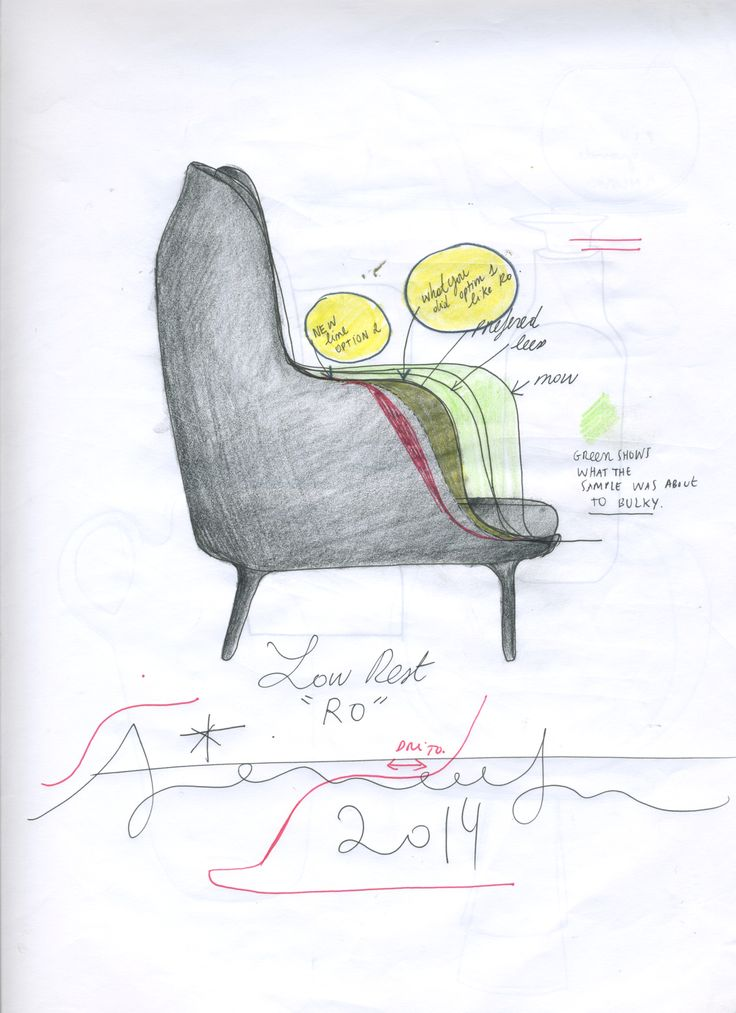 Sketch by Jaime Hayon of the Fri™ lounge chair