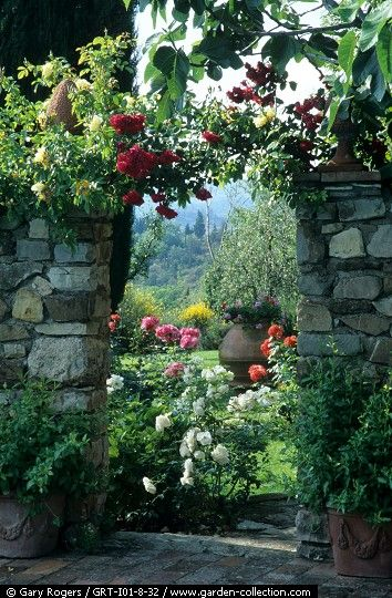 View of the Rose Garden through an Stone Archway ....                                                                                                                                                                                 More