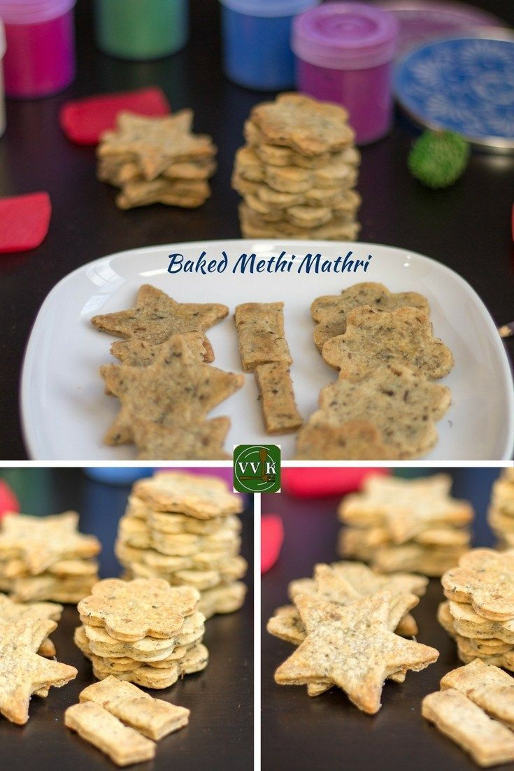 Holi special baked methi mathri - flaky savory biscuits prepared with all purpose flour, wheat flour, semolina and dried fenugreek leaves. #holi #baked #bakedindiansnacks #bakedgoodies