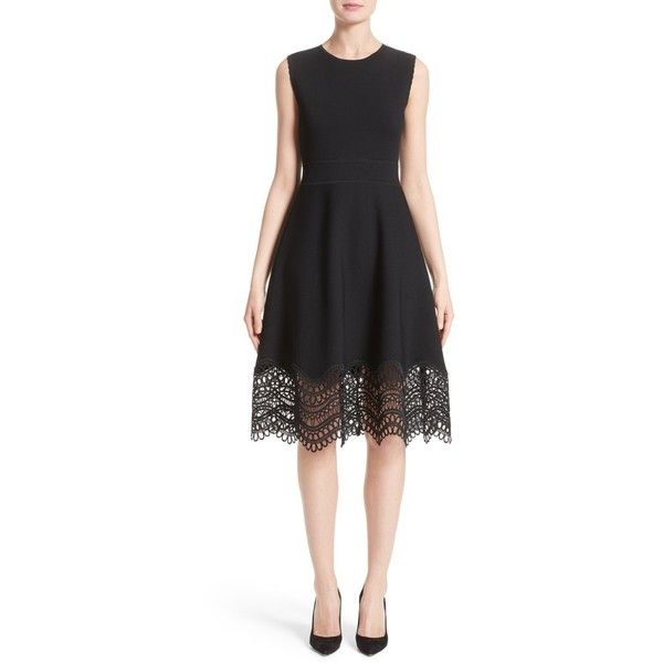 Women's Lela Rose Lace Hem Dress ($1,295) ❤ liked on Polyvore featuring  dresses,