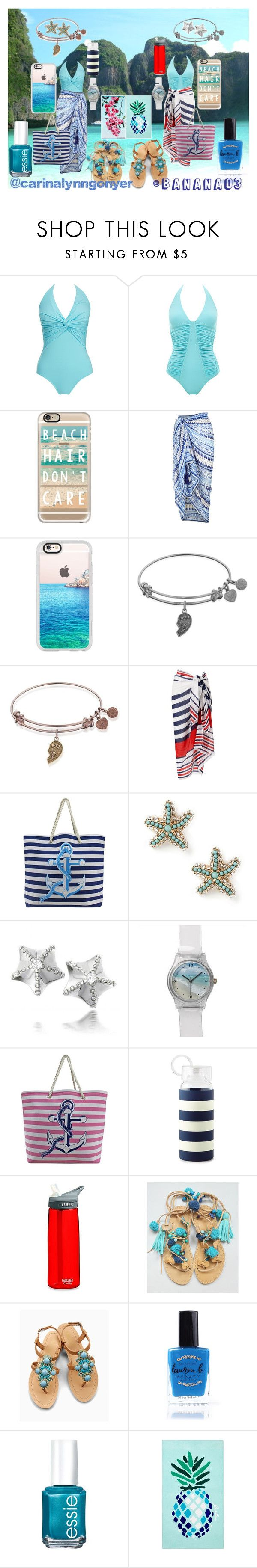 """""""A Day at The Beach With My Bestie!!"""" by bananao3 ❤ liked on Polyvore featuring Melissa Odabash, Casetify, Accessorize, Phase Eight, Bling Jewelry, Kate Spade, Olivia Miller, Lauren B. Beauty, Essie and Matouk"""