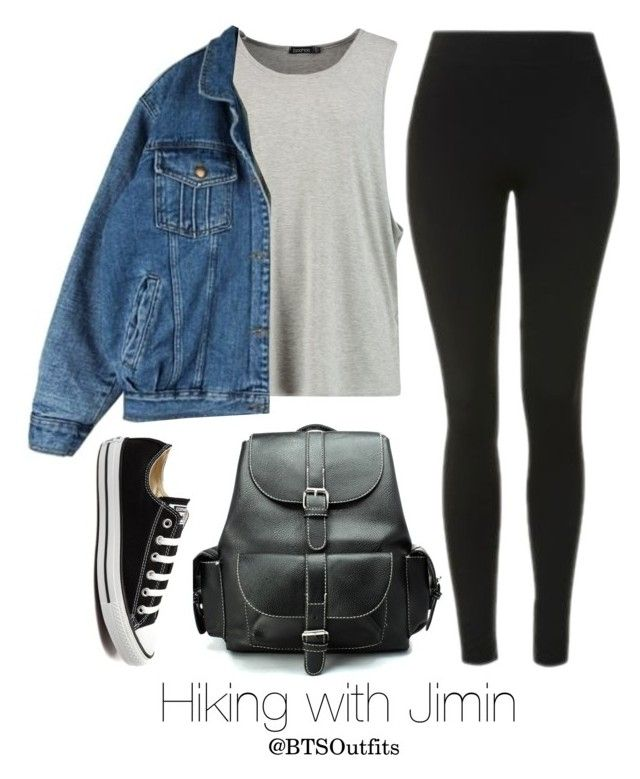 """""""Hiking with Jimin"""" by btsoutfits ❤ liked on Polyvore featuring Topshop, Chicwish and Converse"""