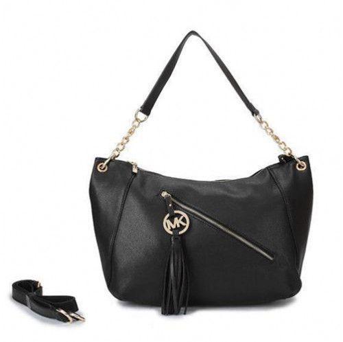 Michael Kors Chain Tassel Large Black Shoulder Bags 79