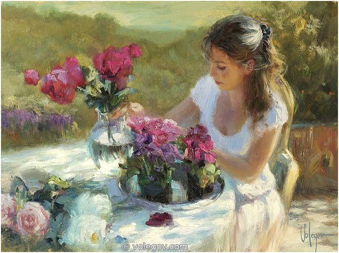 Vladimir Volegov 78. With Flowers on Terrace (2012) *SOLD* http://www.volegov.com/flowers-terrace-painting/