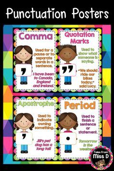 These Posters are a bright and colourful addition to any classroom. Each of the 12 Posters, including header poster, define the type of punctuation and provide a written example. Included Punctuation Posters: * Exclamation Mark * Parenthesis * Comma * Quotation Marks * Question Mark * Hyphen * Colon * Semicolon * Apostrophe * Period * Full Stop (Period) © Tales From Miss D