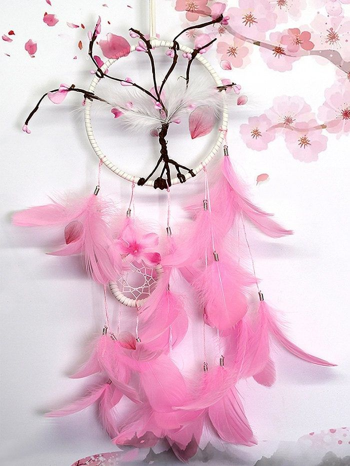 Decorative Wall Hanging Peach Blossom Feathers Dream Catcher Dream Catcher Hanging Wall Decor Feather Dream Catcher