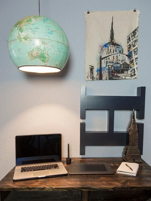Upcycled Hanging Globe Light