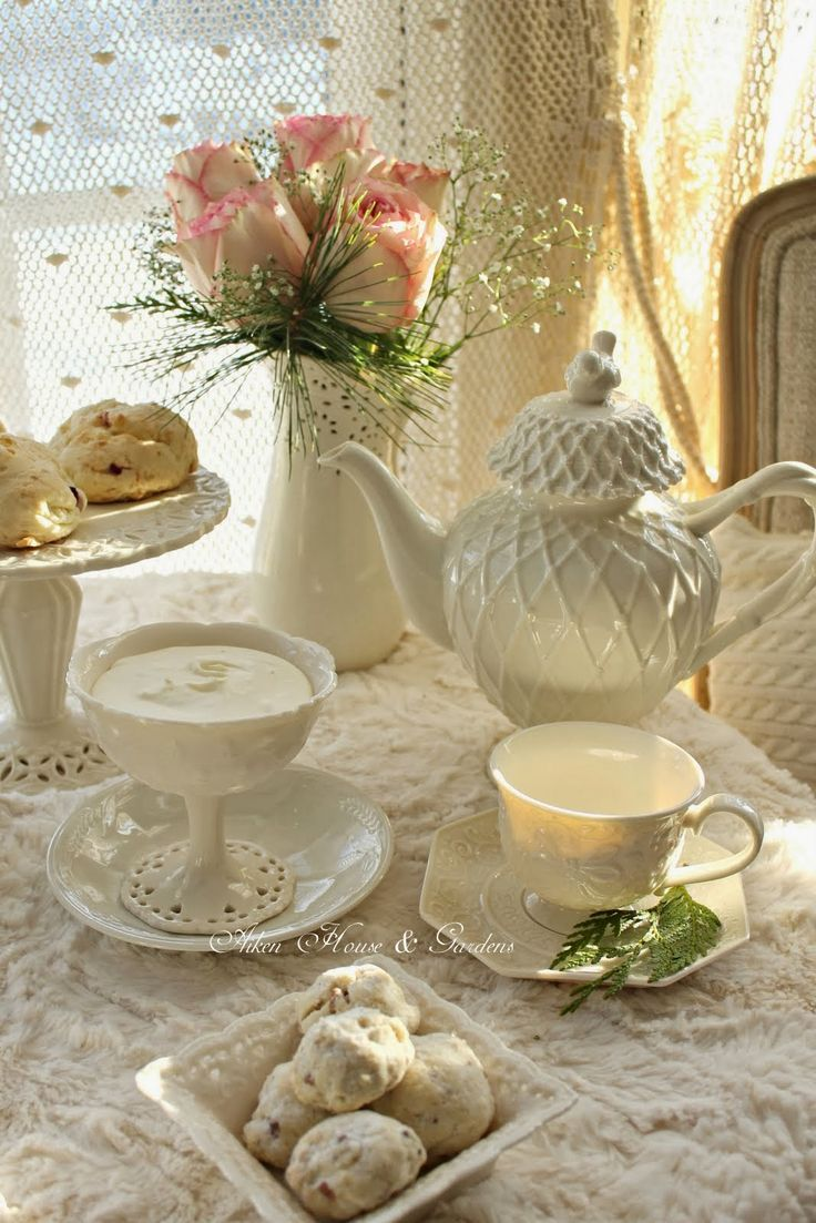 Cozy Winter White Tea ..  I wonder what is in the compote dish.  It looks like pudding, yum!
