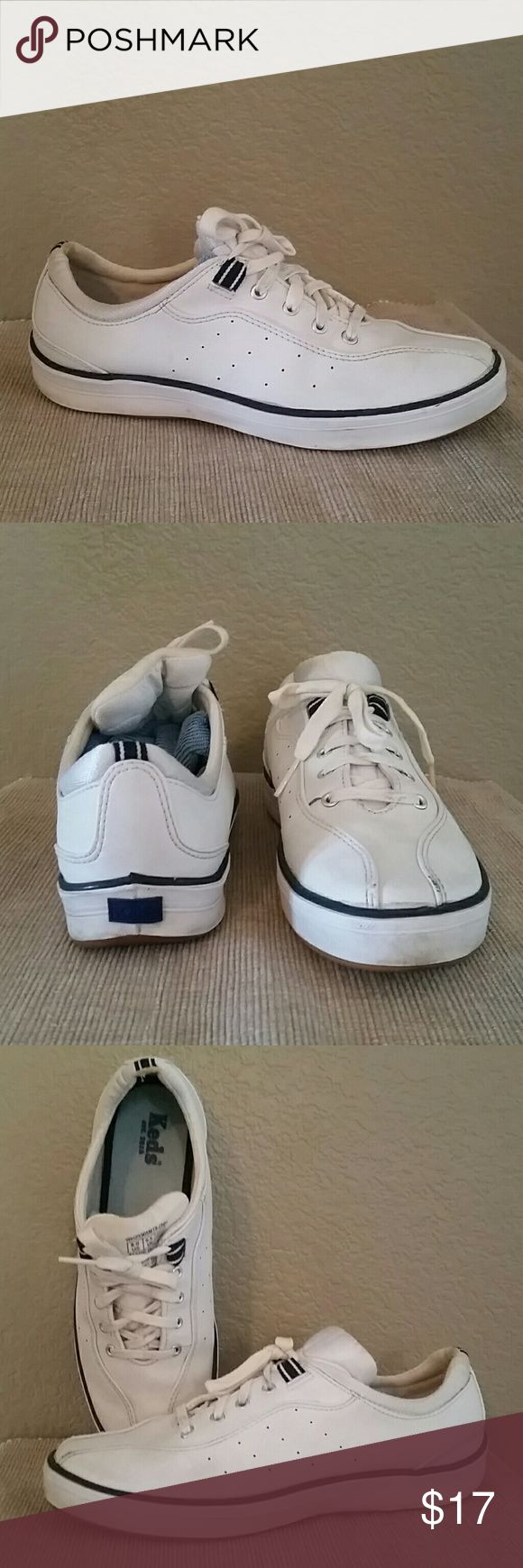 Leather Keds White, navy Keds, used,good condition, 8 Keds Shoes Sneakers