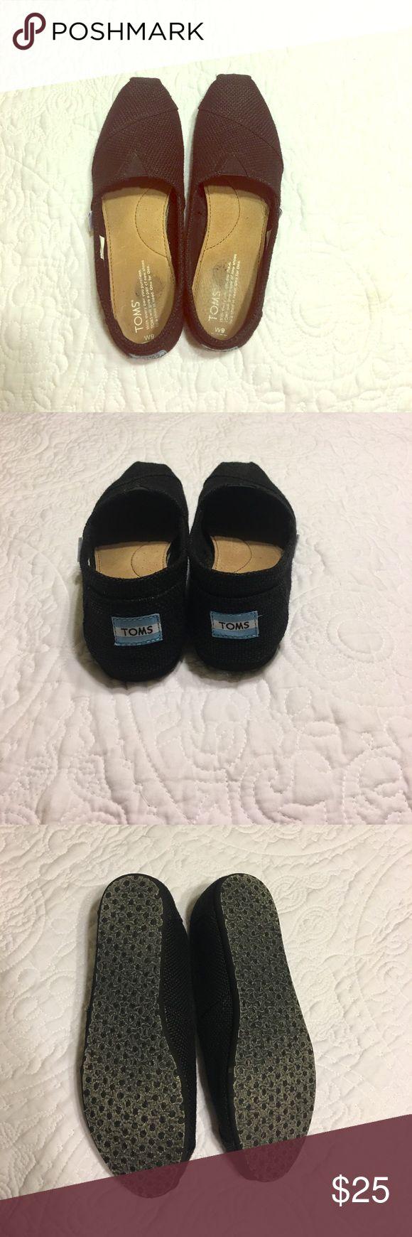 Toms black canvas shoes Excellent used condition toms size 9 women's black canvas shoes. Worn two times. In great condition. TOMS Shoes