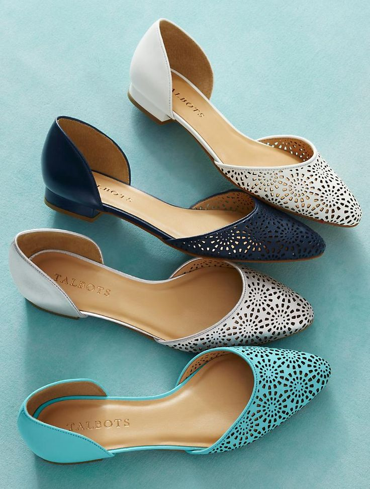 Perforated, floral d'orsay flats in teal, navy, white & silver? We'll take them all, please.