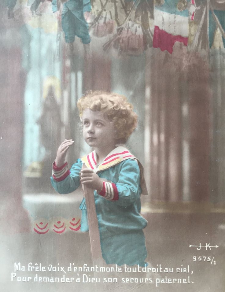 Curly little boy paying his respect to the French army * Antique Tinted…