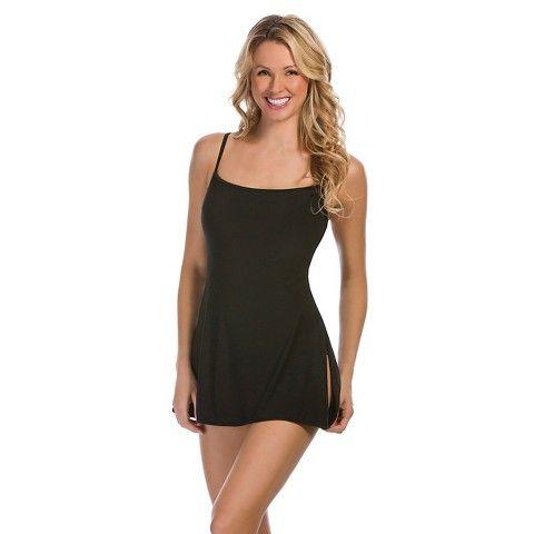Black Side Tie Swim Dress - Aqua Green® : Target