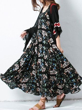 Only US$21.39 , shop Vintage Women Floral Printed Spaghetti Strap Maxi Swing Dress at Banggood.com. Buy fashion Floral Dresses online.