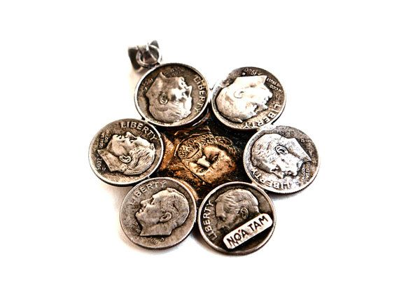 Necklace made from Coins  Flower US Dimes and Dollar Coin