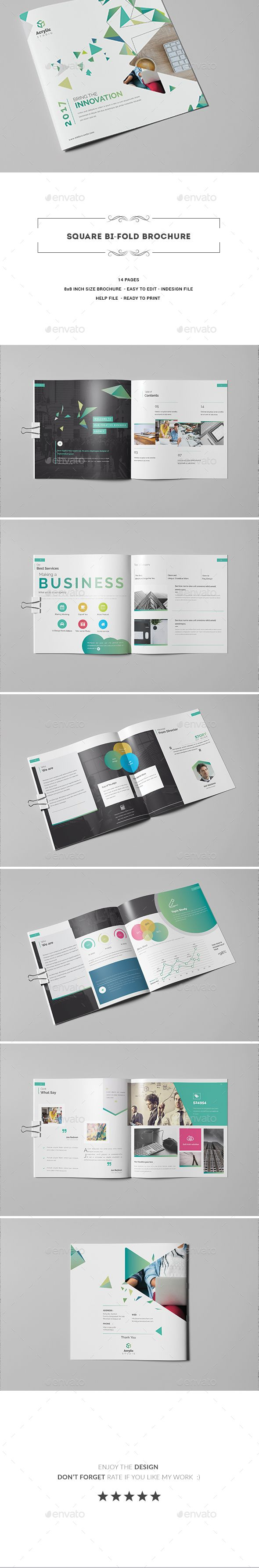 Square Bi fold Brochure - Corporate #Brochures Download here: https://graphicriver.net/item/square-bi-fold-brochure/20295797?ref=alena994