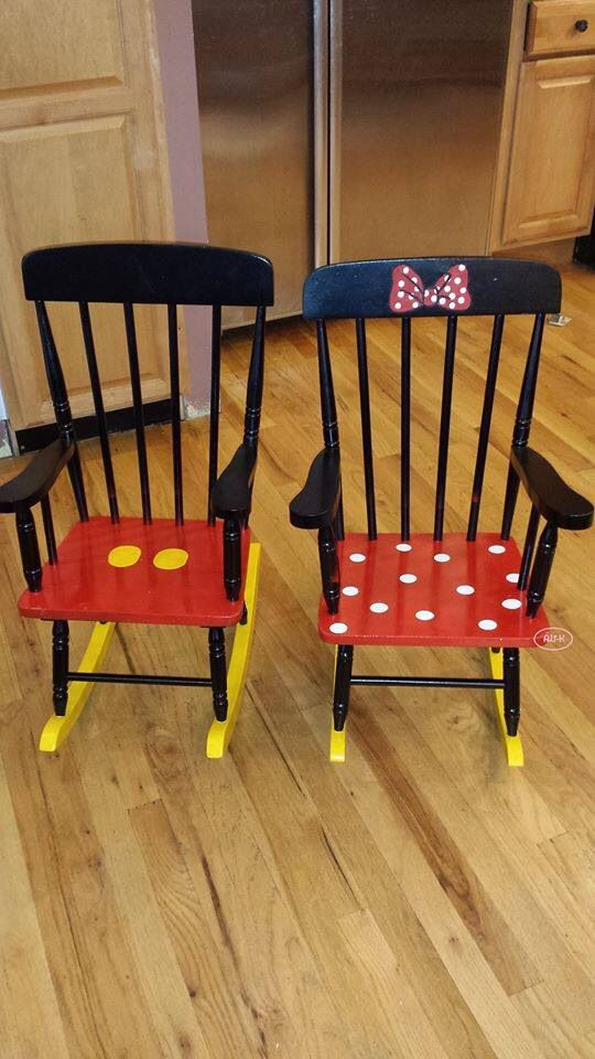 Aren't these darling??? Matching Minnie and Mickey rocking chairs.                                                                                                                                                                                 More