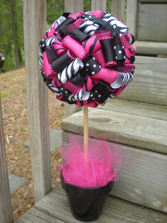 Ribbon Topiary in Hot Pink Zebra and Black by TangledRibbonParties, $30.00