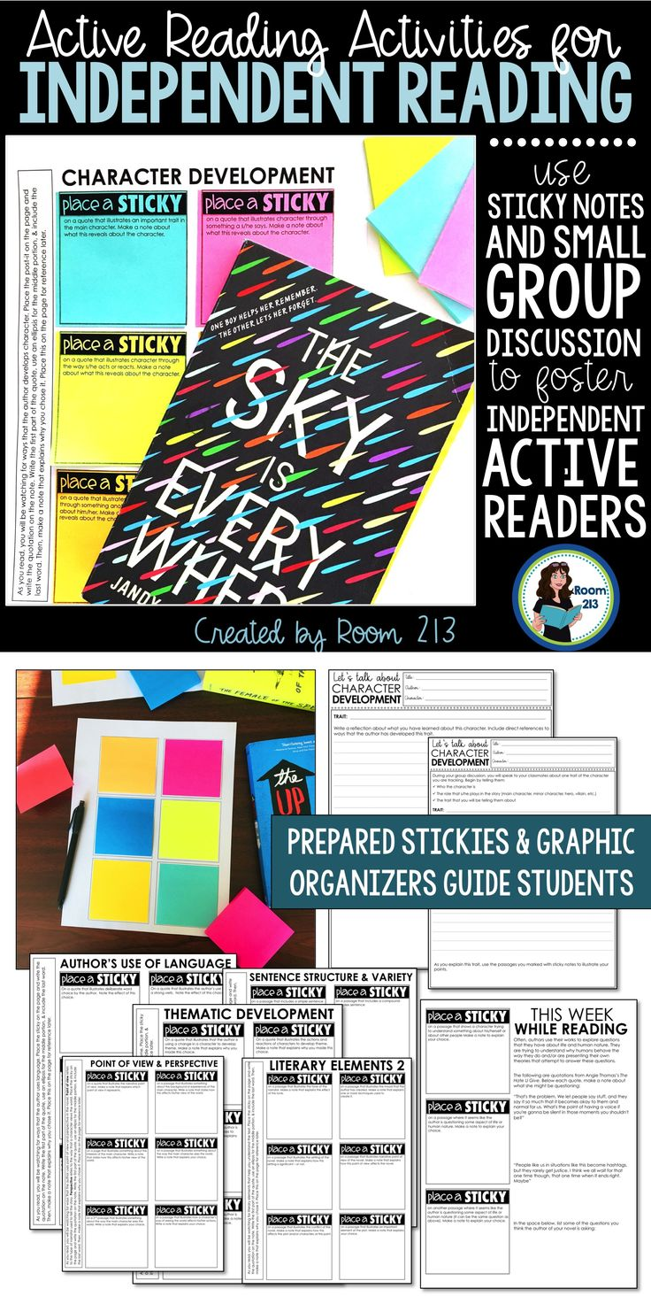 Middle and high school English teachers: use this sticky note activity to help your kids focus on the skills they need to be active, independent readers. Perfect for independent reading and reader's workshop.