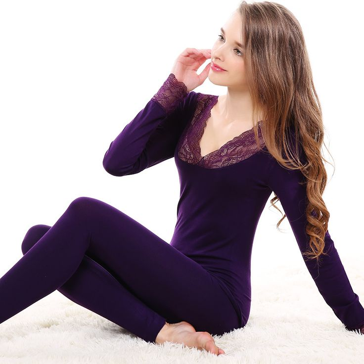 Sexy Lace Thermal Underwear Women Winter And Autumn Warm Long Johns Underwears Top + Pant Slim Underwear
