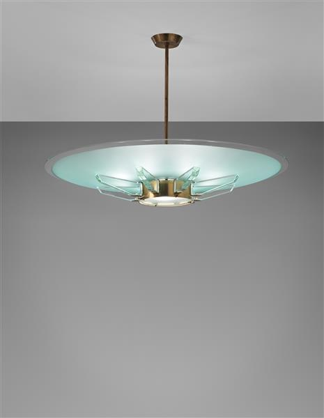 Max Ingrand; #2327, Glass and Brass Ceiling Light for ...