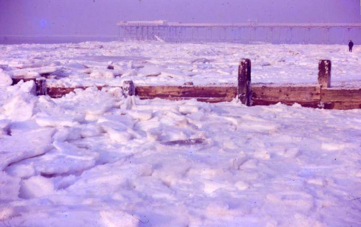 Sea frozen and pier Hunstanton