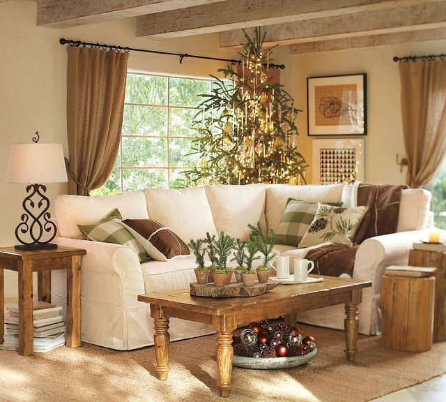 Rustic Country Living Room - nice neutral colors I would love a pop of orange or red: