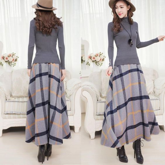 Winter Long Plaid Skirt Women Vintage Thick Plaid Wool Skirts High Waist Big Swing Fashion Maxi Skirts Women Winter Plaid Skirt-in Skirts from Women's Clothing & Accessories on Aliexpress.com | Alibaba Group