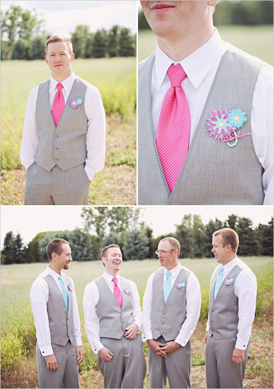unique and grey-- with navy and aqua!: Gray Groomsman, Pink And Gray Wedding Ideas, Pink And Blue Wedding Ideas, Groomsman Ideas, Gray And Blue Groomsmen, Groomsmen Ideas, Wedding Ideas Pink And Blue, Wedding Groomsmen, Blue And Pink Wedding Ideas