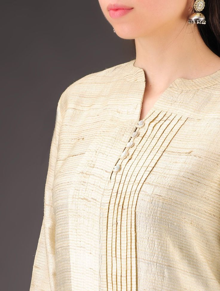Beige Tussar Silk Pleated Natural Dyed Tunic - Buy Apparel > Tunics & Kurtas > Beige Tussar Silk Pleated Natural Dyed Tunic Online at Jaypore.com